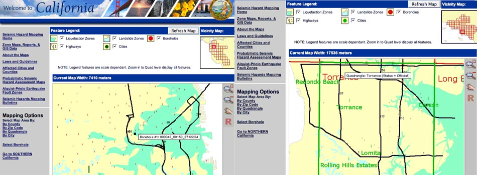 Web-based Seismic Hazards Mapping for the California Department of Conservation