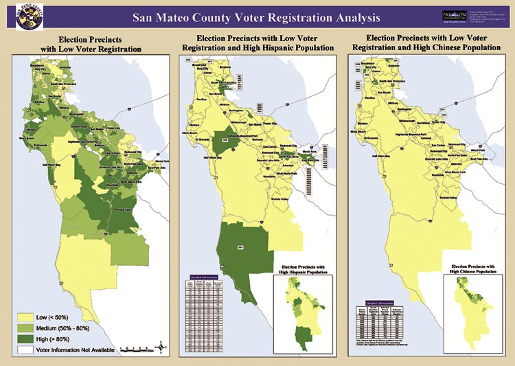 Voter precinct analysis in the San Mateo area (left) reveals low to high voter registration in gradients of green. The dark green shade in these maps reveal areas with high Hispanic (center) and Chinese (right) populations that also have low voter registration. Such areas are targeted for outreach.