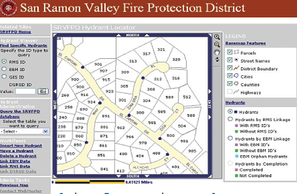 Web-based hydrant locator application shows map of streets and fire hydrants