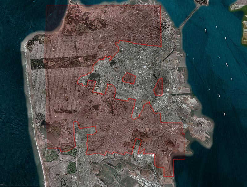 Overlay of parcel information from a rural California property dispute on a Google Earth orthophotograph of the City of San Francisco to show the property size in relationship to the size of San Francisco.