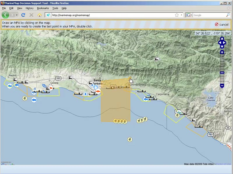 Marine Map has drawing and editing tools that let user specify precisely where MPAs might go.