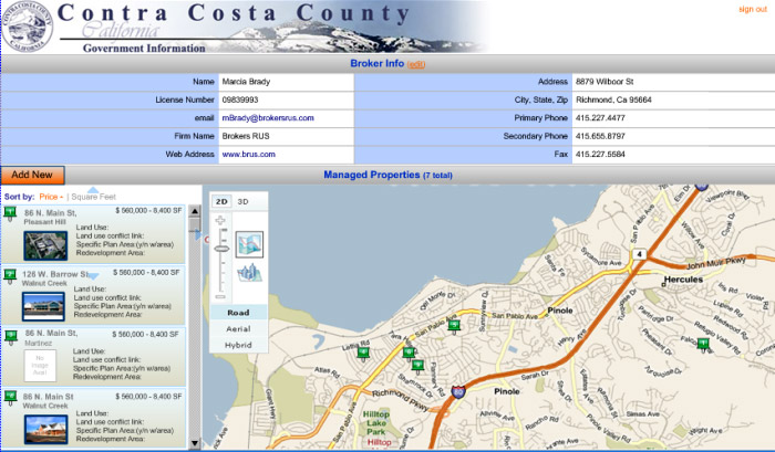 Selected properties can be clicked on to display a chart with additional information, including property photographs, driving directions and current traffic conditions.