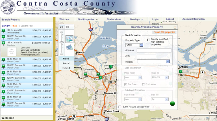 """""""GIS Site Locator"""" website provides comprehensive, property-specific information to assist in business siting decisions. Users enter parameters such as price range and square footage to quickly find and display properties on a map along with photos and driving directions."""