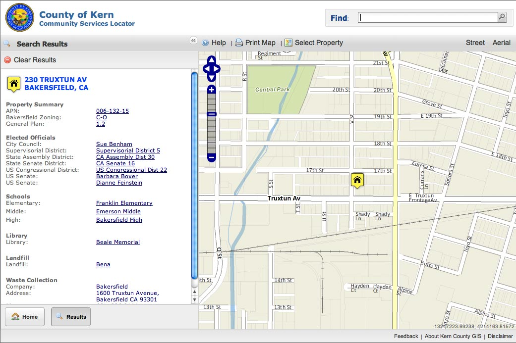"Users may use the map to indicate a property of interest. The ""Select Property"" button highlights when users navigate to an area of interest. Property reports are created when the user clicks on the map."