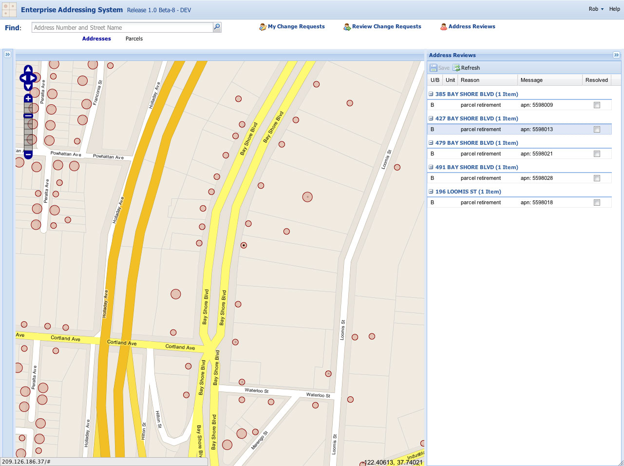 The EAS system automatically flags address data in need of attention when related City data (such as parcel data) are updated. Users can then see a list of these address from the web application and apply the proper edits to correct any issues.