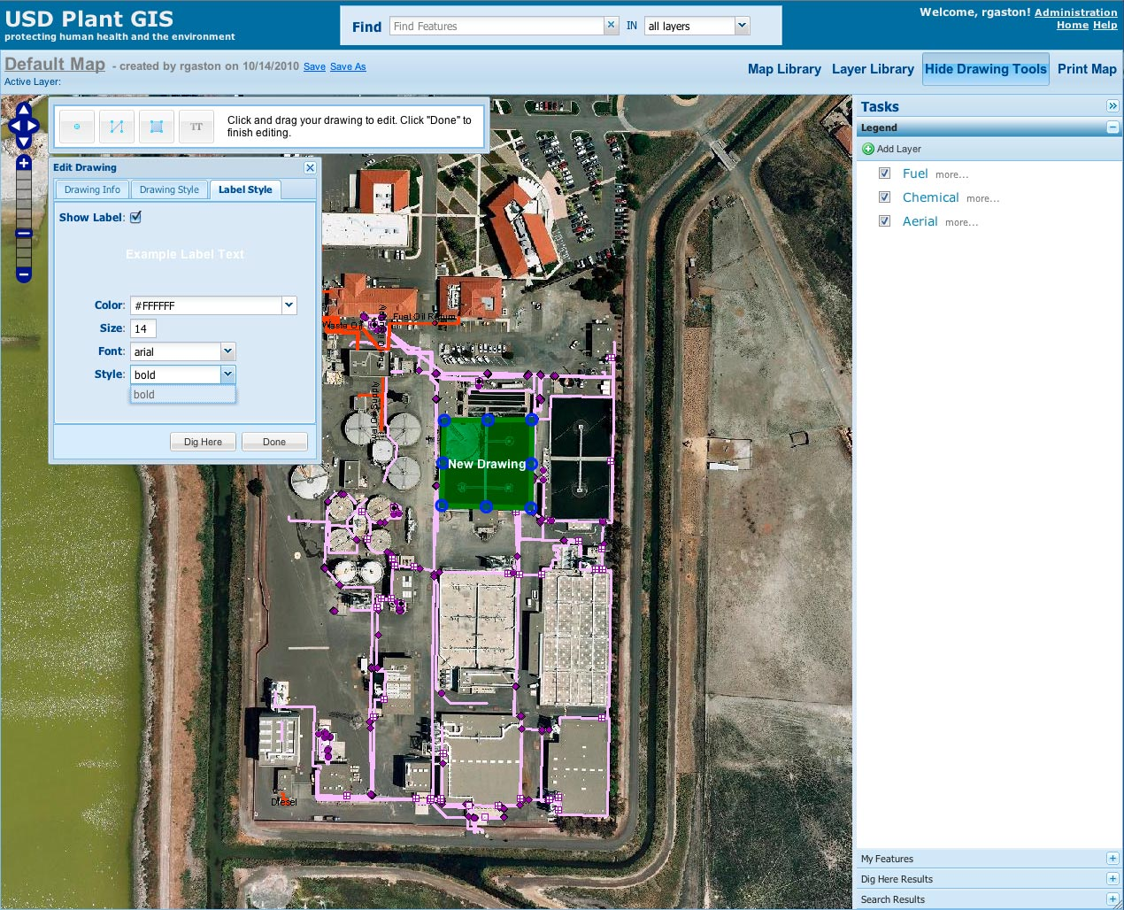 Plant GIS includes fully featured drawing and labeling tools with a user-friendly interface. Using these tools, District staff can freely edit maps to then share with other staff.