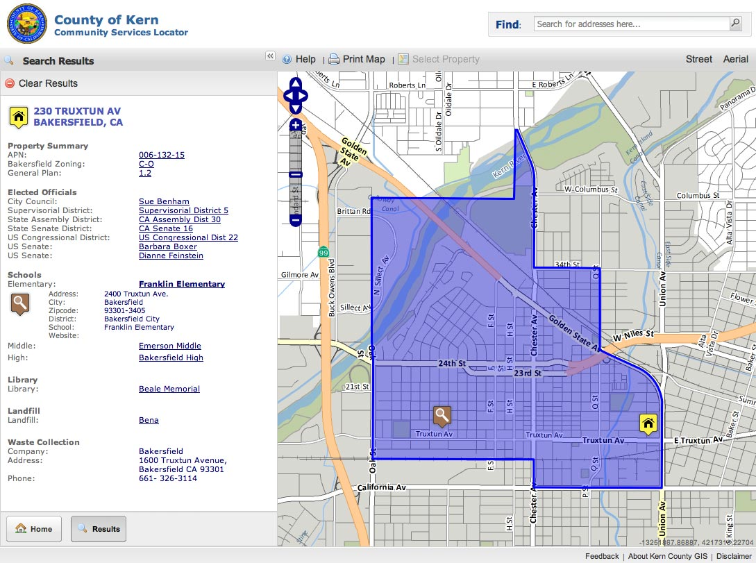 Use the map to select a property of interest. Then click on a list of features in the left panel to find out more. Clicking on the Franklin Elementary link, shows the extent of the school district that the property falls into.