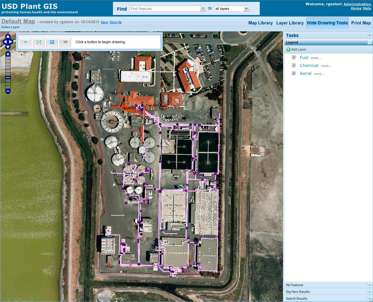 Plant GIS allows users to view and overlay any GIS layers available in the District's ArcGIS Server. Simple maintenance workflows allow the system administrator to easily change which layers are available to Plant GIS users.