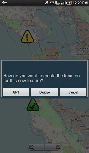Users can digitize locations on the map or use the devices GPS when collecting data.