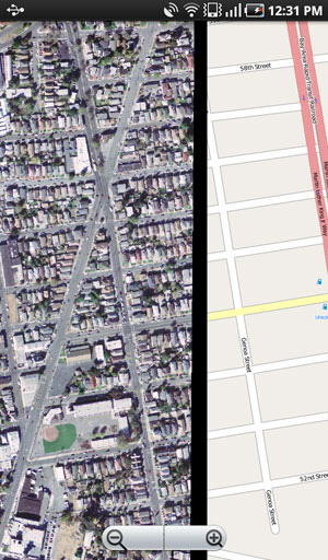 The application is able to display georeferenced imagery that is cached locally on the device.
