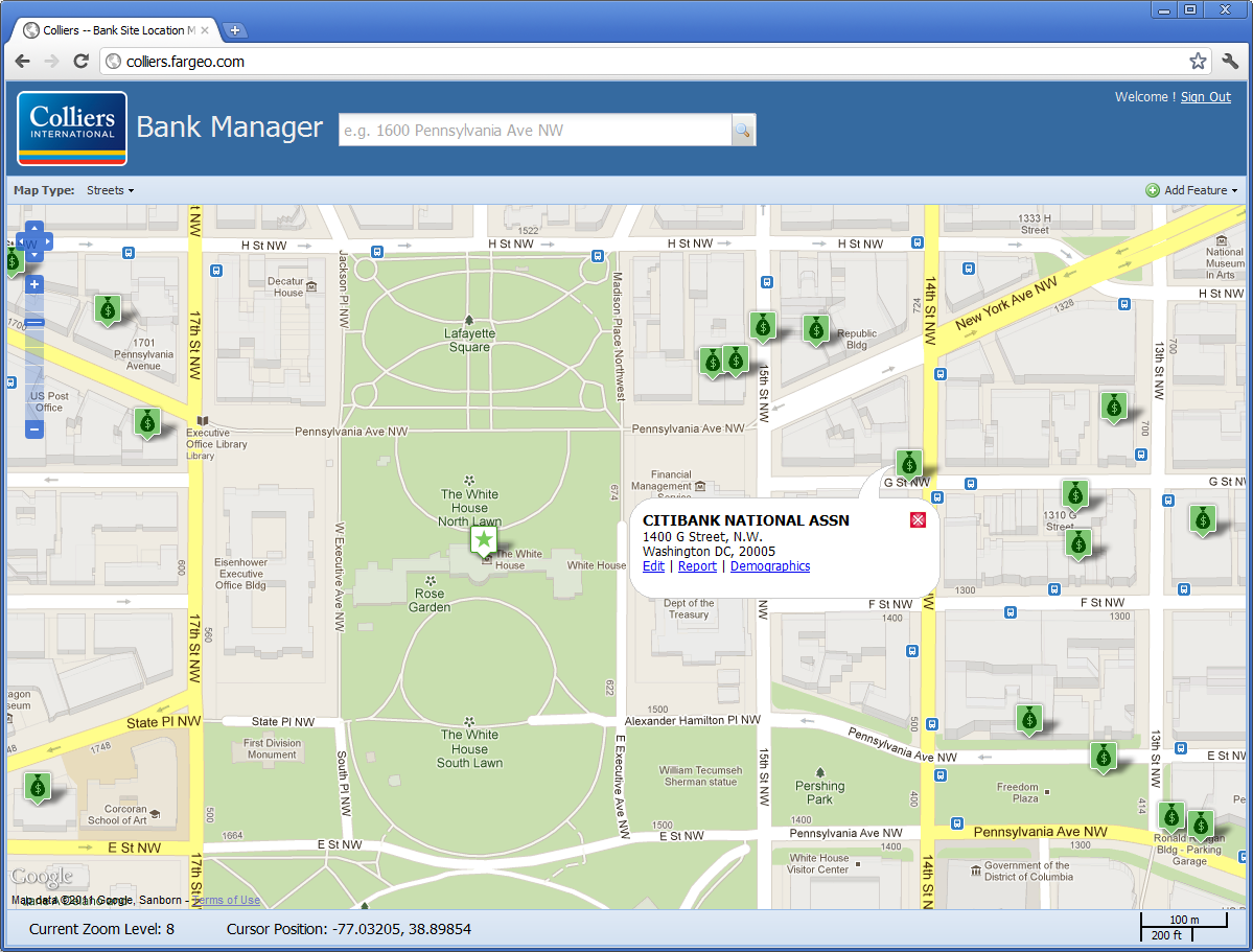 Map interface to manage existing Citibank properties, enter and update information for potential bank locations, and track the location of competing banks.