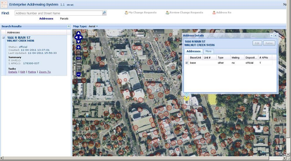 The EAS web application allows users to easily search for addresses anywhere in Walnut Creek for address details.