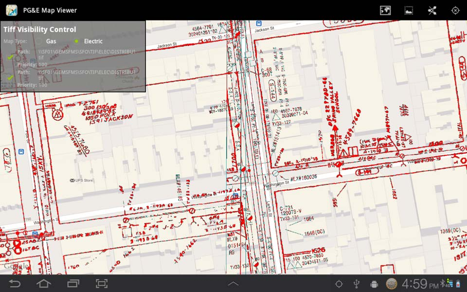 Transparent display of PG&E's electrical maps on top of Google streets data.