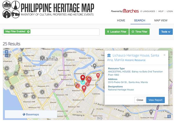 Philippine Heritage Map cultural and inventory and management system powered by Arches