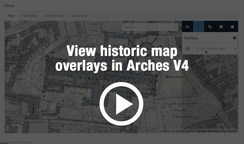 View historic maps as a seamless overlay on aerial images or shape files in Arches v4