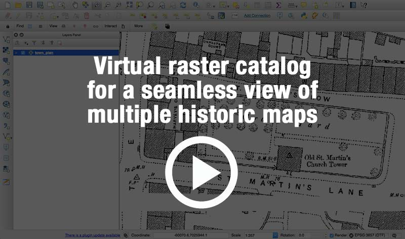 Use a virtual raster catalog to manage images and give a seamless view of the 99 historic map tiles